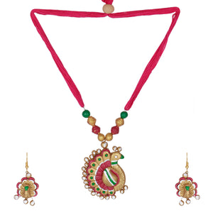 GahneMall Indian Terracotta Handcrafted Vintage Pink Peacock Style Fashion Jewelry set