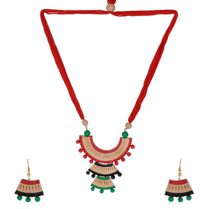 Indian Terracotta Handcrafted Vintage Three Curves Combo Style Fashion Jewelry Set