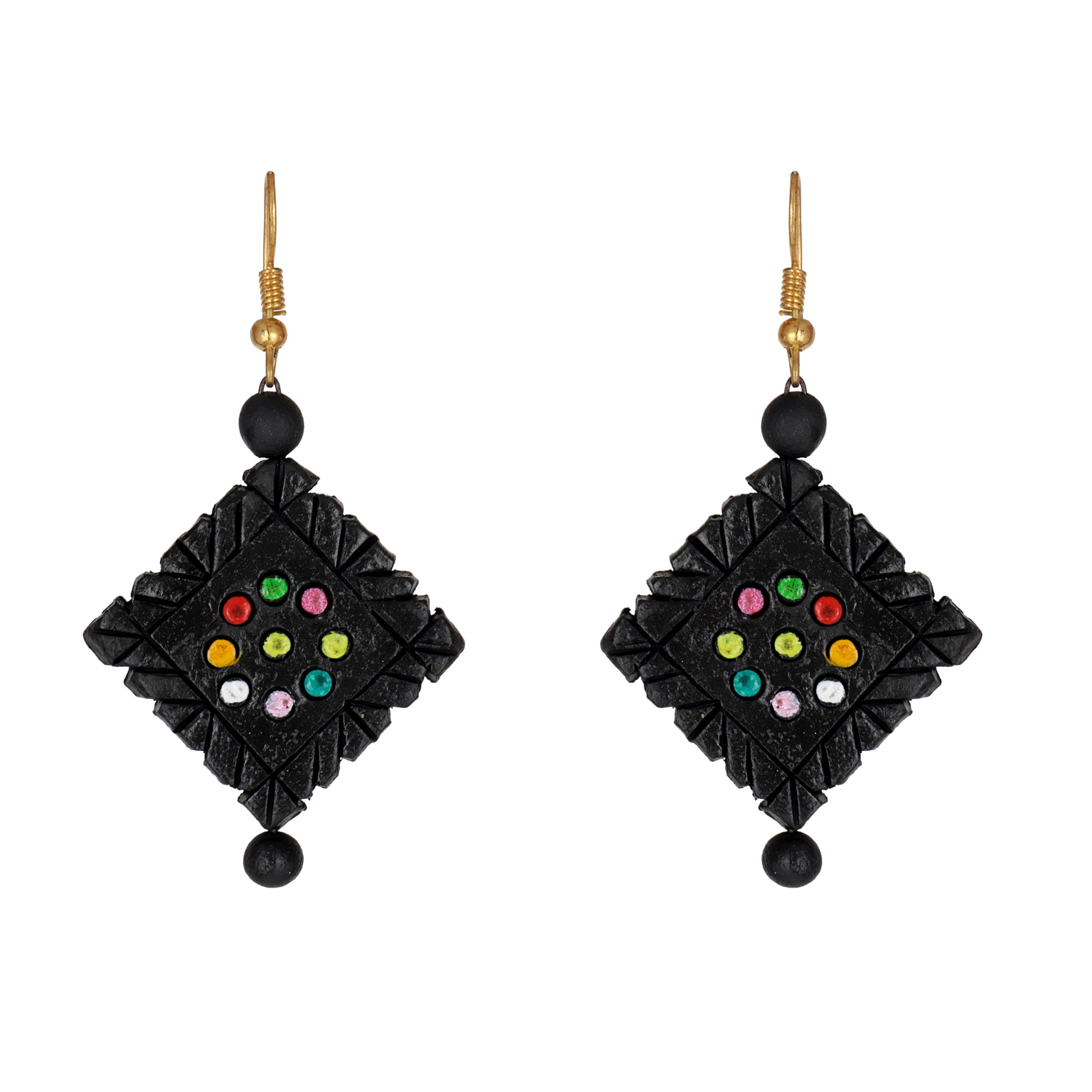Indian Terracotta Handcrafted Vintage All Black Style Fashion Jewelry