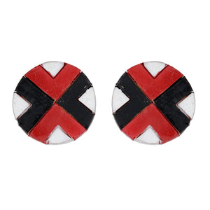 Indian Terracotta Handcrafted Traditional Red Black Stripes Combo Style Earings