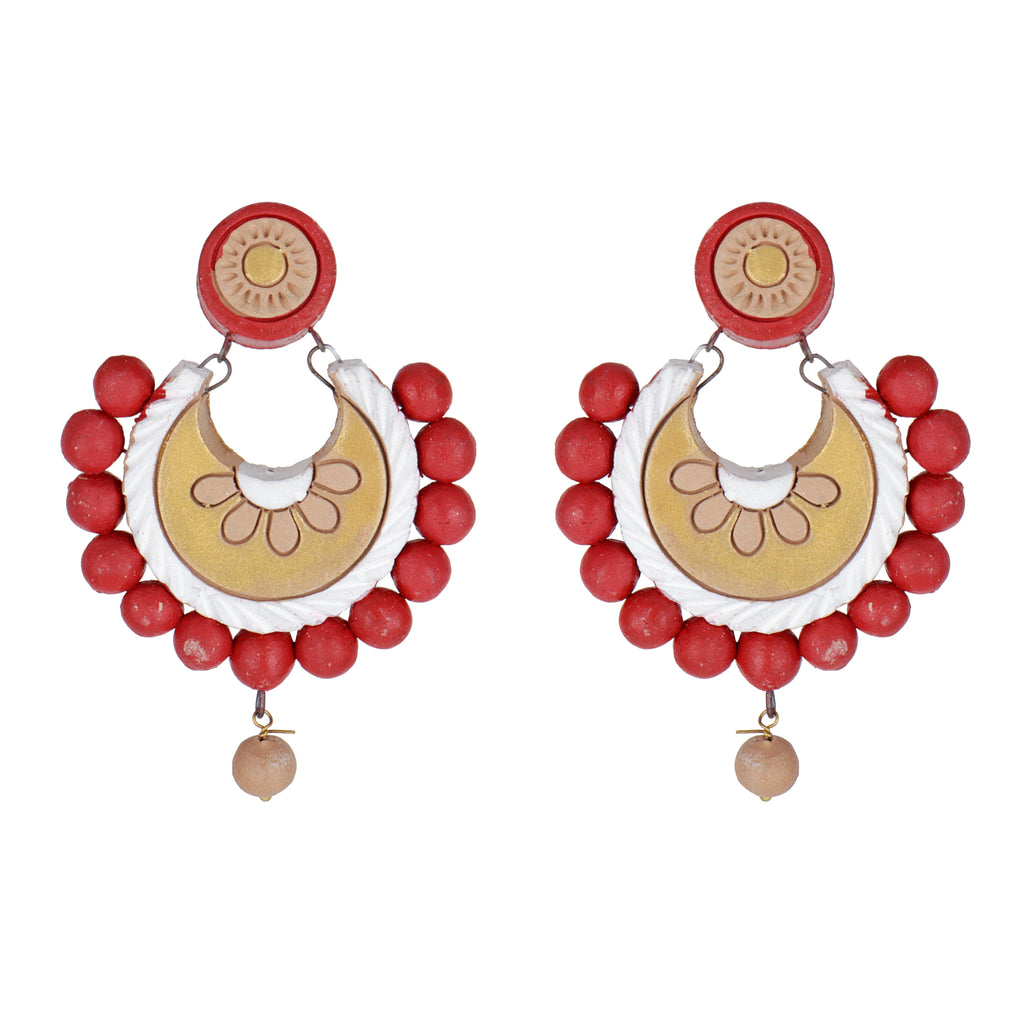 Indian Terracotta Handcrafted Traditional Red Leaves Style Earings