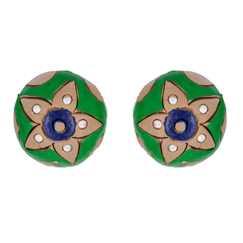 Indian Terracotta Handcrafted Traditional Green Style Earing
