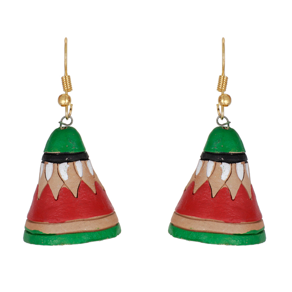 Indian Terracotta Handcrafted Traditional Green Cap Style Earing