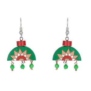 Indian Terracotta Handcrafted Traditional Green Half Style Earing