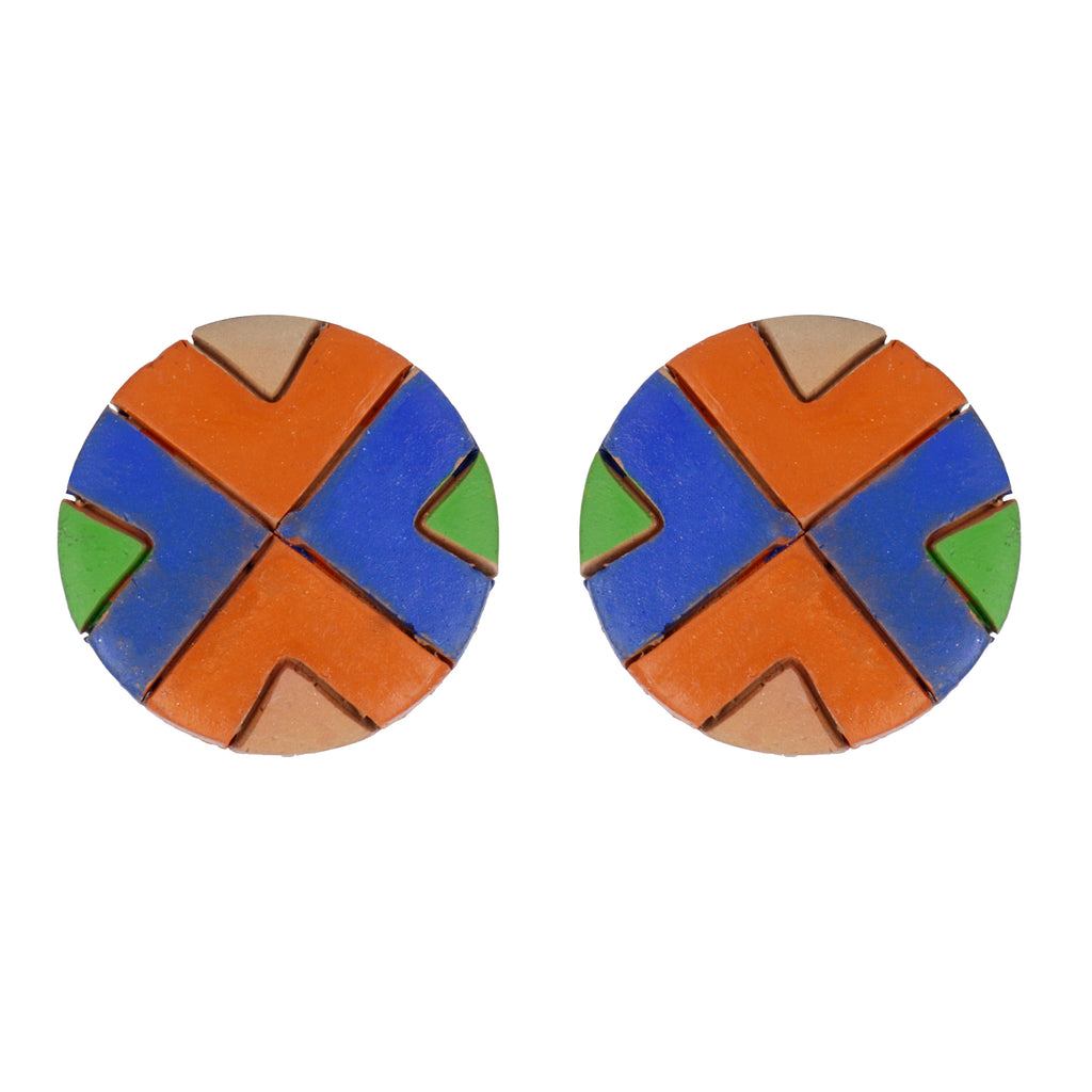 Indian Terracotta Handcrafted Traditional Sky Blue Stripes Combo Style Earings