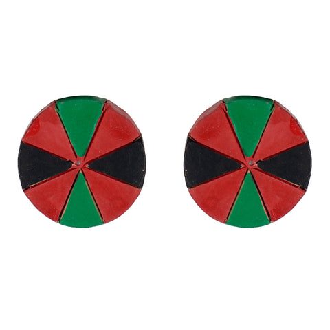 Indian Terracotta Handcrafted Traditional Red Green Stripes Combo Style Earings