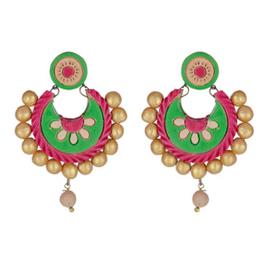 Indian Terracotta Handcrafted Traditional Green Leaves Style Earings