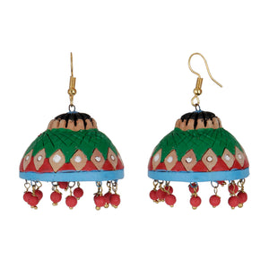 Indian Terracotta Handcrafted Traditional Green Big Style Earing