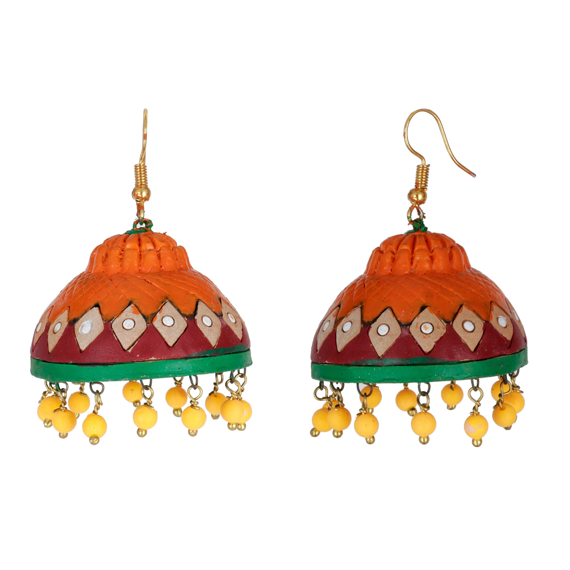 Indian Terracotta Handcrafted Traditional Orange Big Style Earing