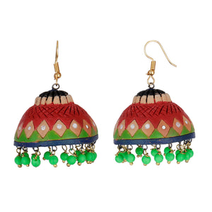 Indian Terracotta Handcrafted Traditional Red Big Bowl Style Earing