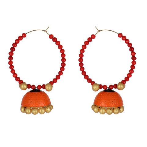 Indian Terracotta Handcrafted Traditional Orange Bowl Style Earing