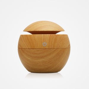 FREE Shipping Lathed Wooden Essential Oil Diffuser With LED