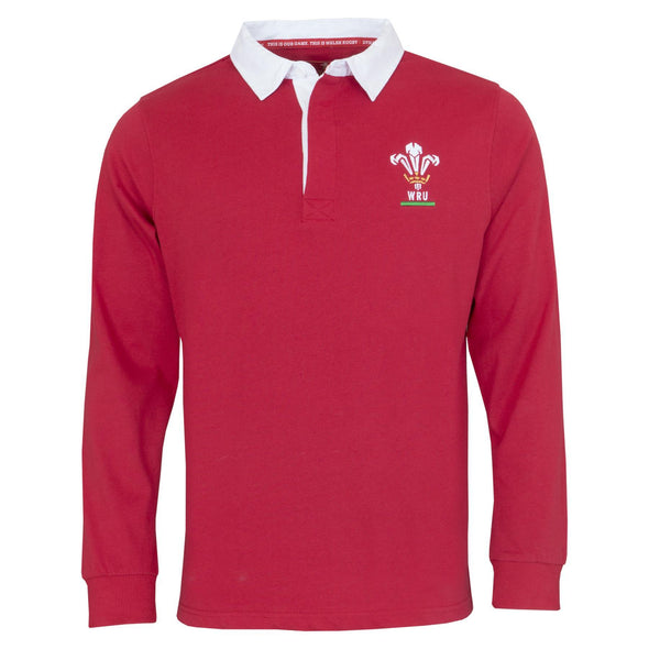 Wales WRU Rugby Mens Long Sleeve Rugby Shirt | Red