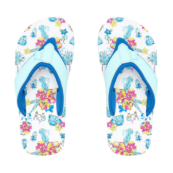 Animal Girls Swish AOP Flip Flops | White