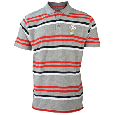 Wales WRU Rugby Men's Stripe Polo Shirt | Grey | 2019