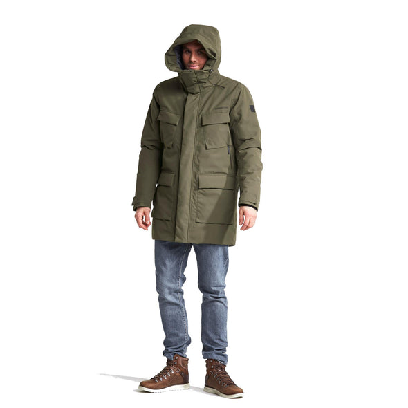 Didriksons Drew 3 Mens Padded Parka Jacket | Crocodile Green