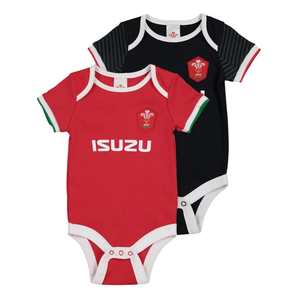 Wales WRU Rugby Baby 2 Pack Bodysuits | Red/Black | 2021