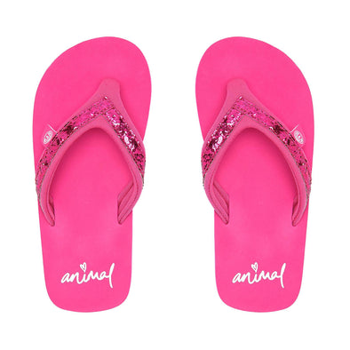 Animal Girls Swish Slim Flip Flops | Raspberry Rose Pink