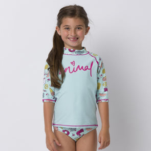 Animal Girls Paddle Rash Vest Suit | Misty Green