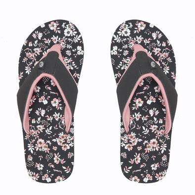 Animal Womens Swish AOP Flip Flops | Raven Black