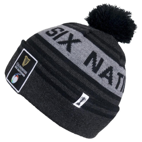 Guinness 6 Nations Rugby Bobble Beanie Hat | Dark Grey | 2021 | Adult