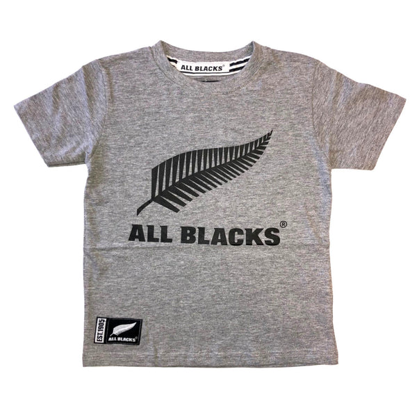 New Zealand All Blacks Kids Large Logo T-Shirt | Grey Marl | 2019/20 Season