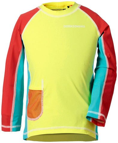 Didriksons Kids Surf Long Sleeved UPF50+ UV Rash Vest Sun Top - Citron