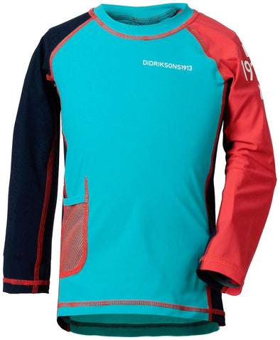 Didriksons Kids Surf Long Sleeved UPF50+ UV Rash Vest Sun Top - Turquoise