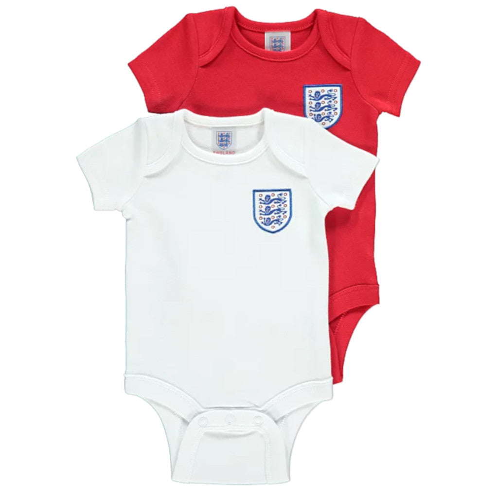 0-3 Months 2019//20 England Football Baby Kit 2 Pack Bodysuits