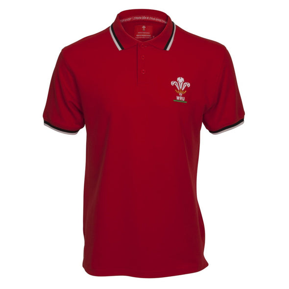 Wales WRU Rugby Kids Pique Polo Shirt | Red