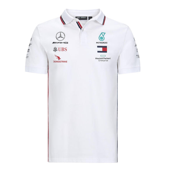 Mercedes AMG Petronas Men's Replica Team Polo Shirt | White | 2020