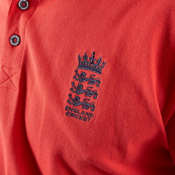 ECB England Cricket Mens Pique Polo Shirt | Red | 2019