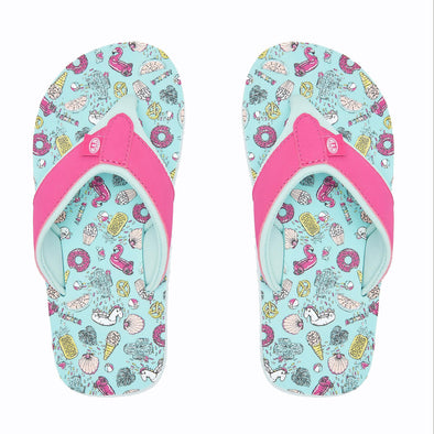 Animal Girls Swish AOP Flip Flops | Misty Green