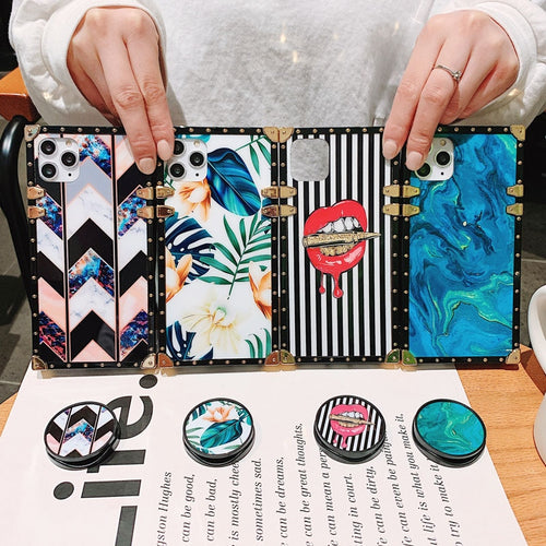 Premium Square iPhone Case with Holder/Ring