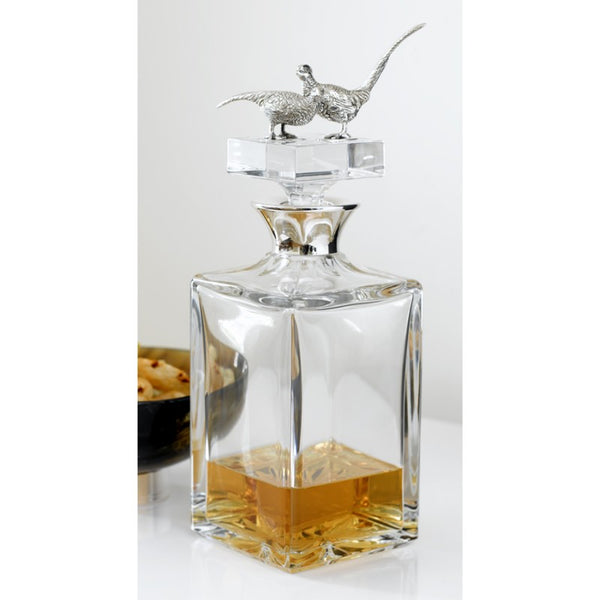Tyrol Silver Decanter (Square with Pair Pheasants)