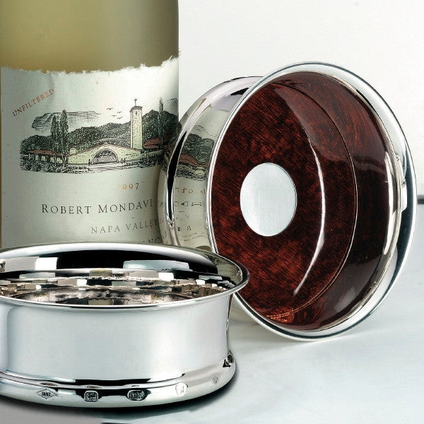 Burgundy Silver Wine Coasters (PAIR)