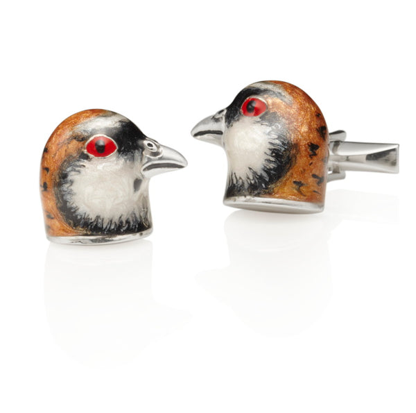Partridge Silver & Enamel Cufflinks