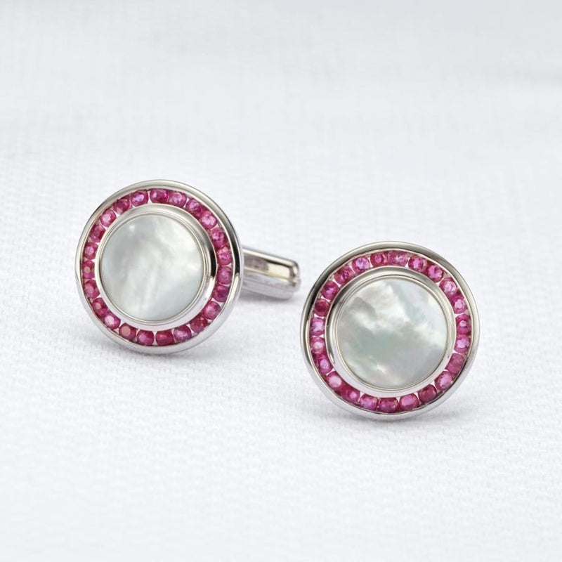 Ascot Ruby & Mother of Pearl Cufflinks