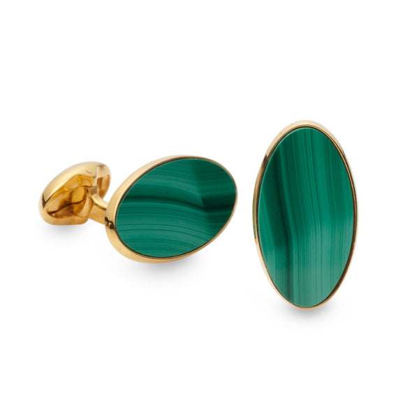 Curzon Malachite Gilded Sterling Silver Cufflinks