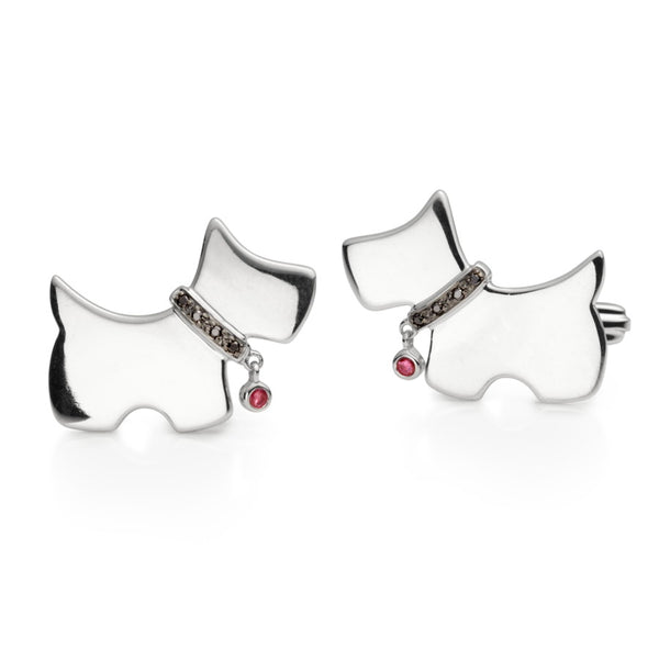 Wee Doug Black Diamond & Ruby Silver Cufflinks