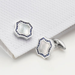 Stowe Sapphire & Mother of Pearl Cufflinks