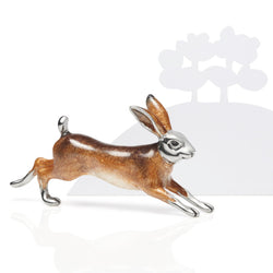 Leaping Silver & Enamel Hare Model