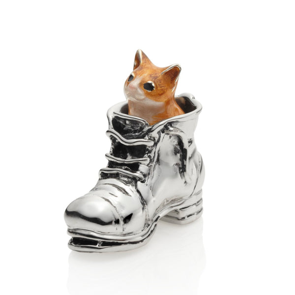 Puss in Boot Enamel & Sterling Silver