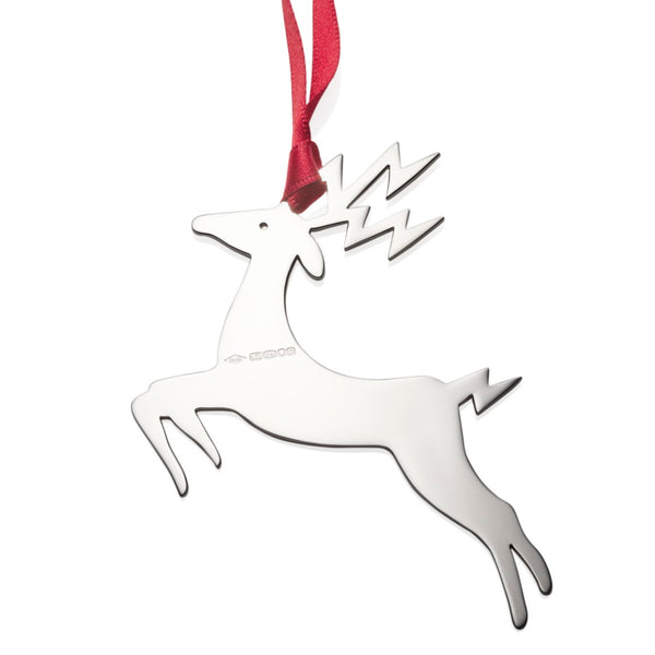 Blitzen Reindeer Sterling Silver Christmas Decoration