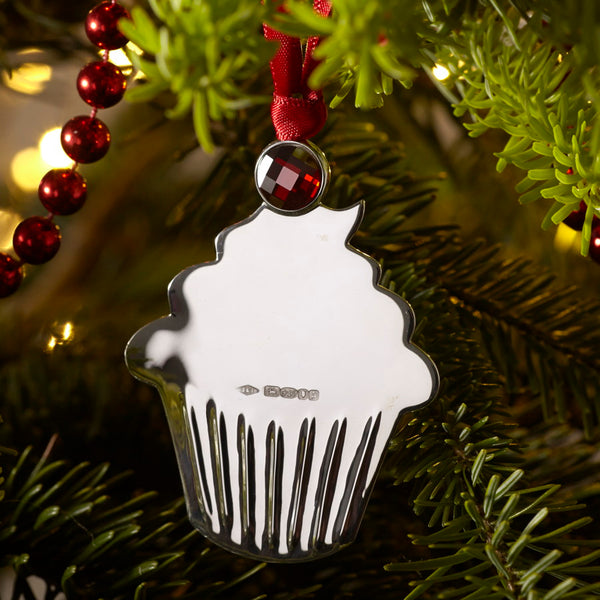 Cupcake Sterling Silver Christmas Decoration