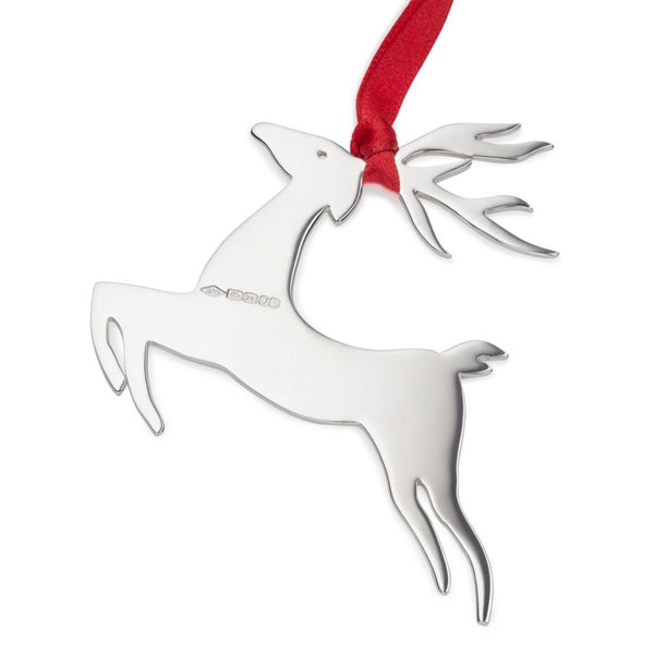 Sterling Silver Reindeer Christmas Tree Decoration with English Hallmarks