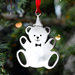 Teddy Edward (plain) Silver Christmas Ornament