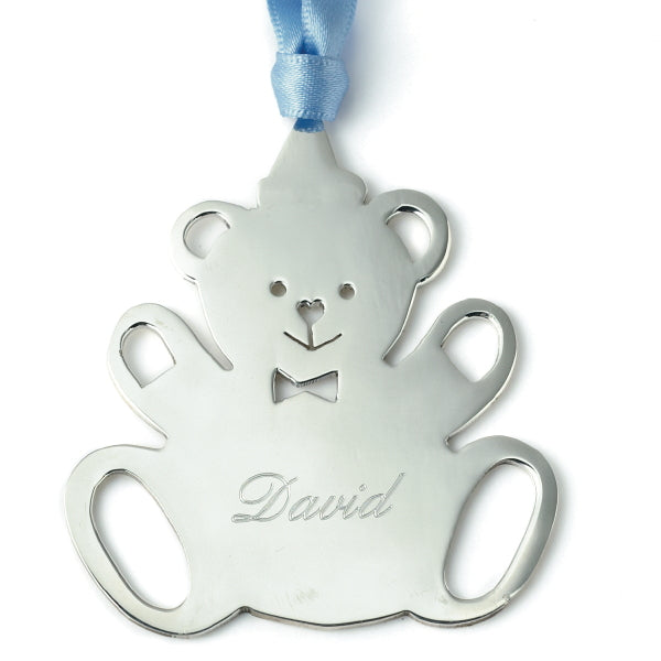 Sterling Silver Bear Christmas Tree Decoration with English Hallmarks with engraving