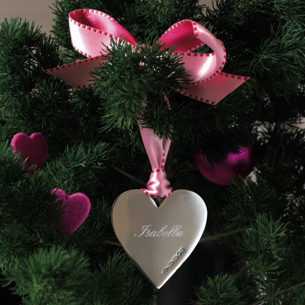 Sterling Silver Love-U-Heart Christmas Decoration (Pink Ribbon)