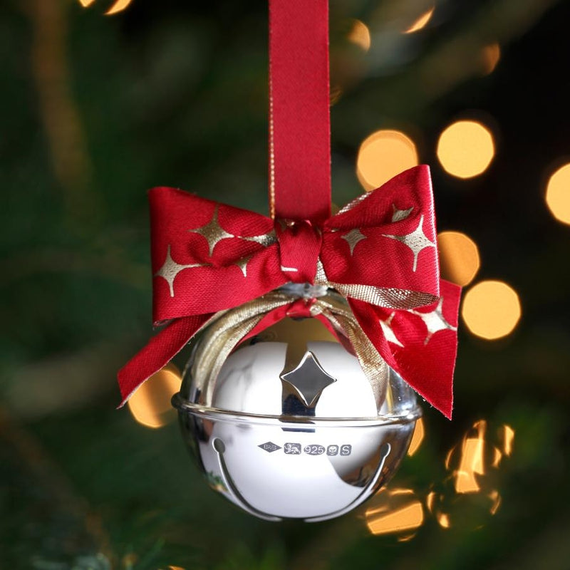 Large Sterling Silver Sleigh Bell Christmas Decoration